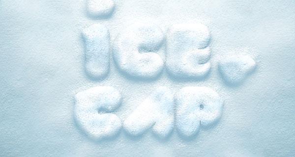 Psd efecto de texto de nieve