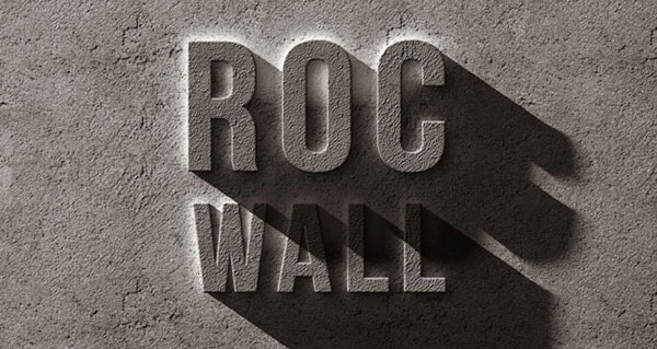 Psd efecto de texto de roca concreta