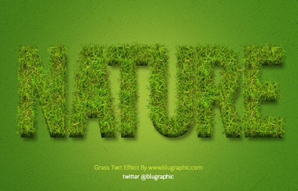 Acción de efecto de texto de hierba