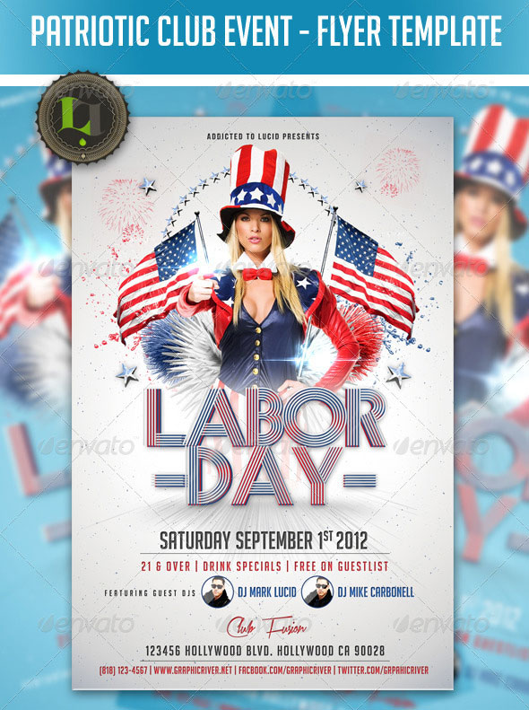patriotic club event flyer template