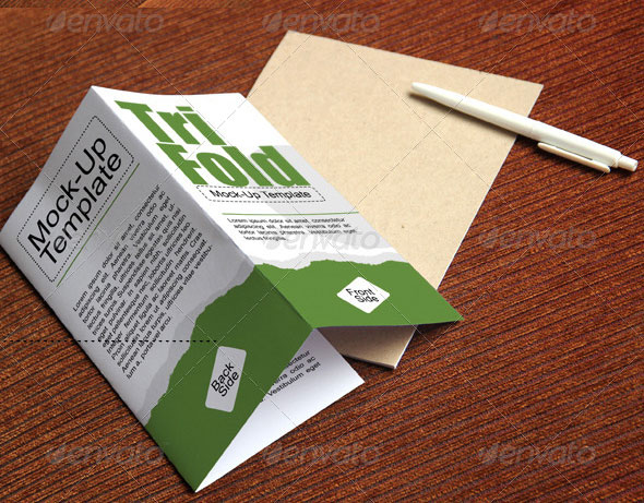 Photorealistic Trifold Brochure Mock-Up
