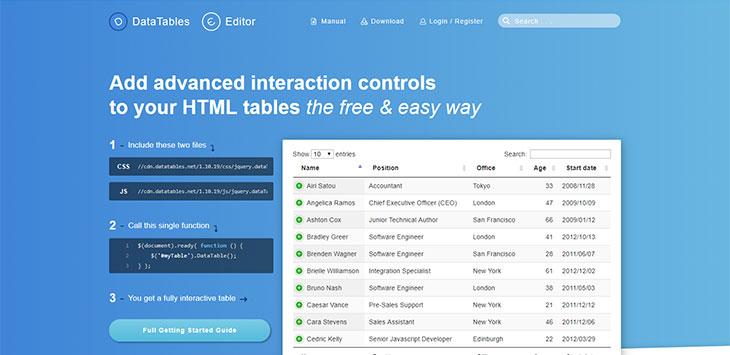 17 jQuery HTML Table Plugins – Bashooka