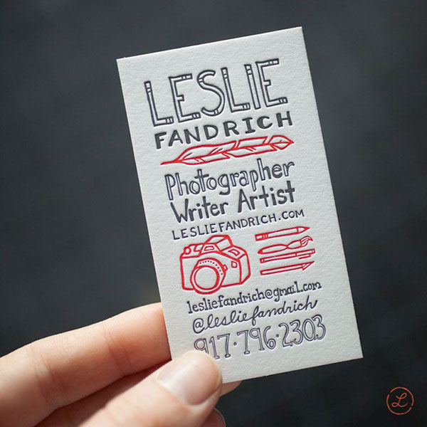 Lippi's business cards printed at Igloo Letterpress.
