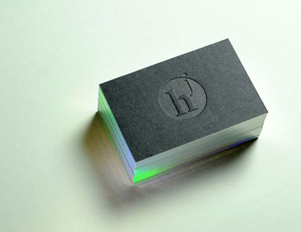 Edge Painted Letterpress Business Card - using diffraction effect foil