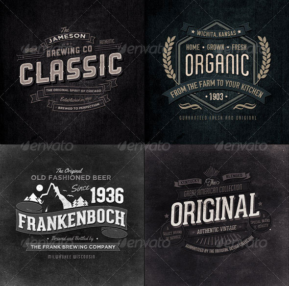 Retro Typographic Insignia and Badges Bundle