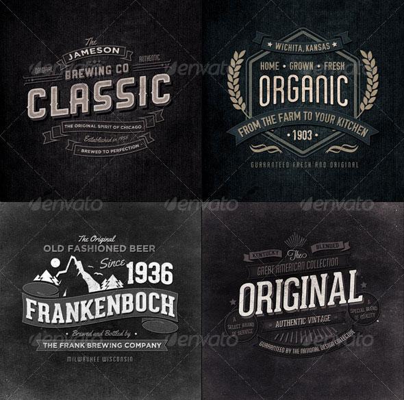 Retro Typographic Insignia and Badges Bundle