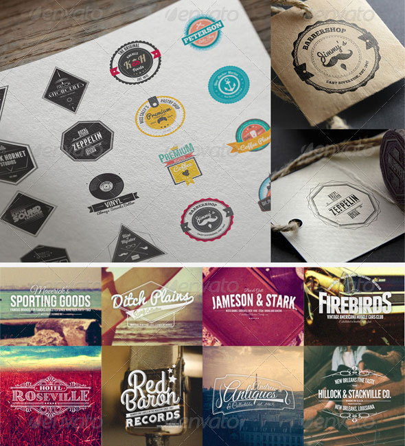 90 Retro Badges, Labels and Crests Bundle