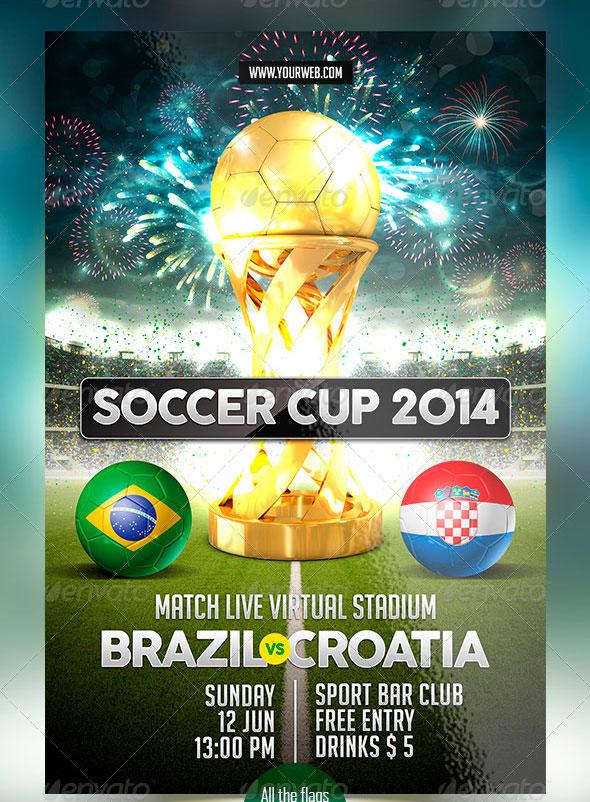 14 world cup brazil psd flyer templates