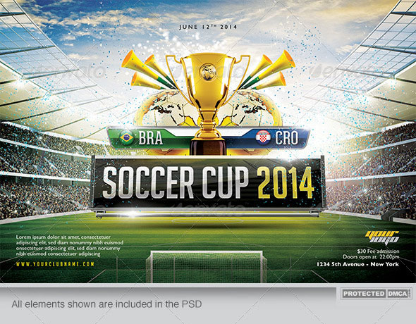 Soccer Cup 2014 Flyer Template