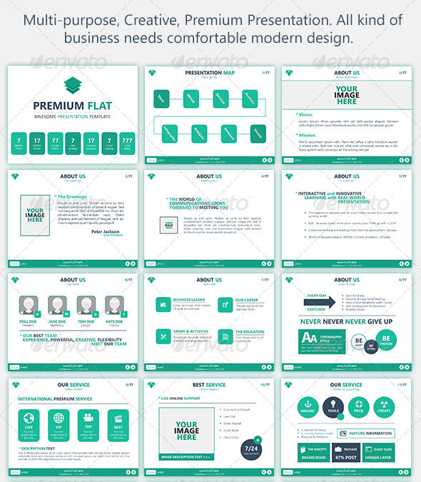 15 flat powerpoint presentation templates | web & graphic design, Powerpoint templates
