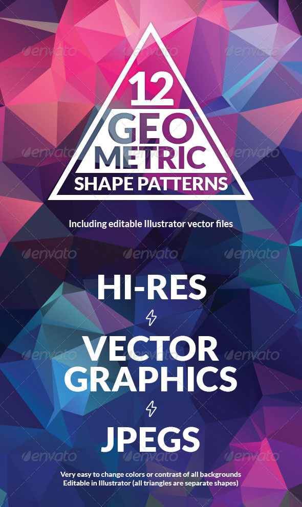 Awesome Geometric Triangular Backgrounds, Textures