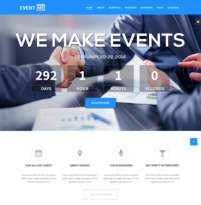 event landing pages