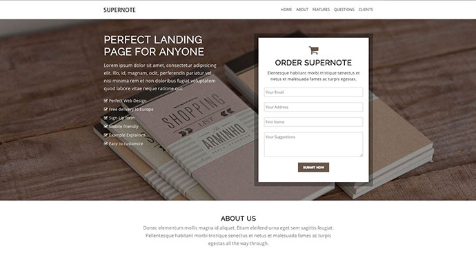 Supernote One Page Landing Page