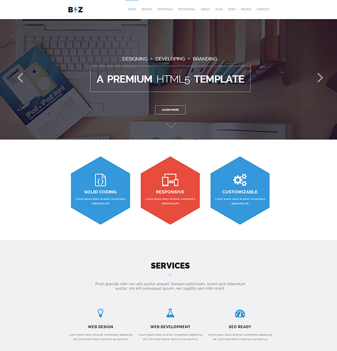 43 professionally designed html5 business website templates web biz one page parallax html template wajeb Choice Image