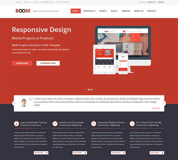43 professionally designed html5 business website templates web boom multi purpose responsive html template cheaphphosting Choice Image