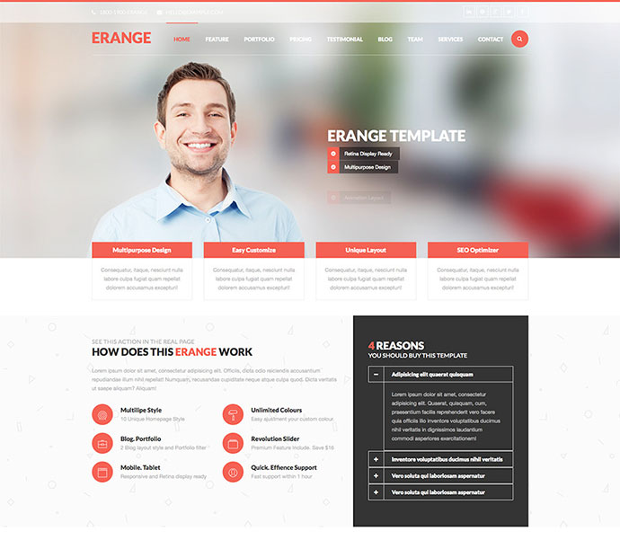43 professionally designed html5 business website templates web erange responsive multipurpose html5 template fbccfo Image collections