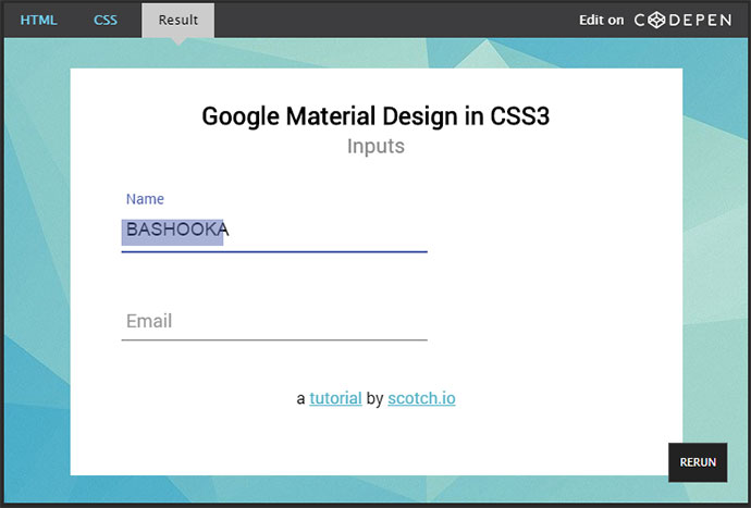 Stylish contact form css3