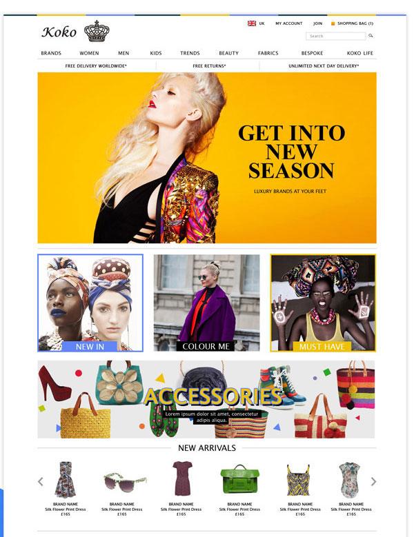 Koko stores E-commerce design