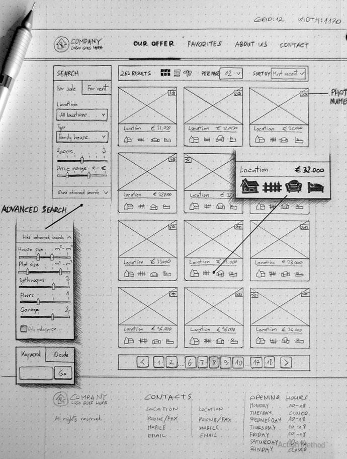 Sketch - Real estate agency website