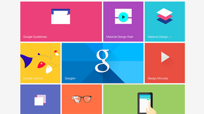 24 material design examples resources web graphic for Web design tile layout