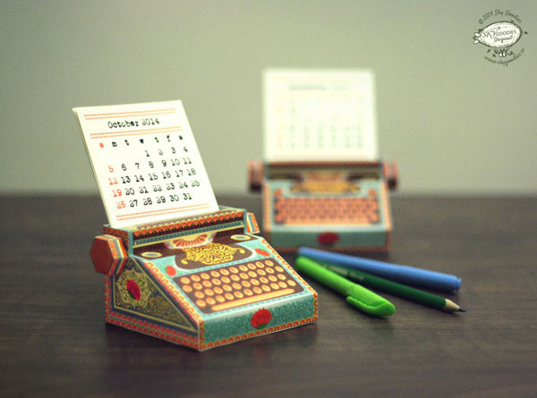 Colorful Mini Typewriter Calendar 2014: DIY paper