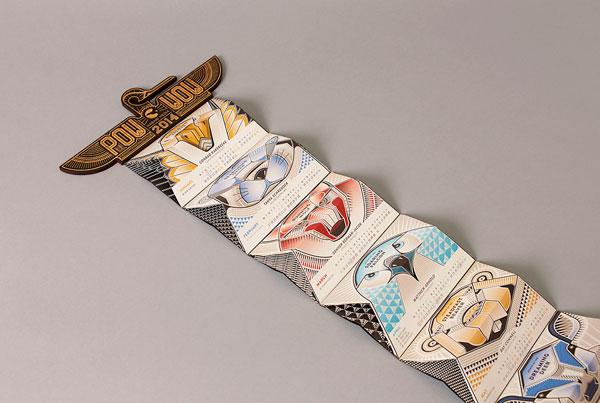 A fold out paper craft calendar