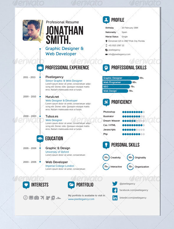 20 Creative Infographic Resume Templates Web Graphic Design