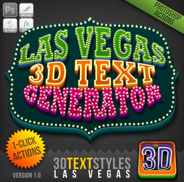Acción de 1 clic: generador de texto 3D de Las Vegas