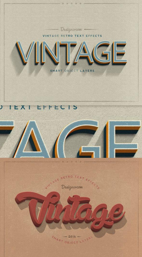 Efectos de texto de estilo retro vintage