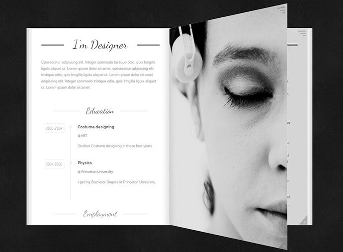 24 best wordpress resume themes for freelancers web for Html flip book template
