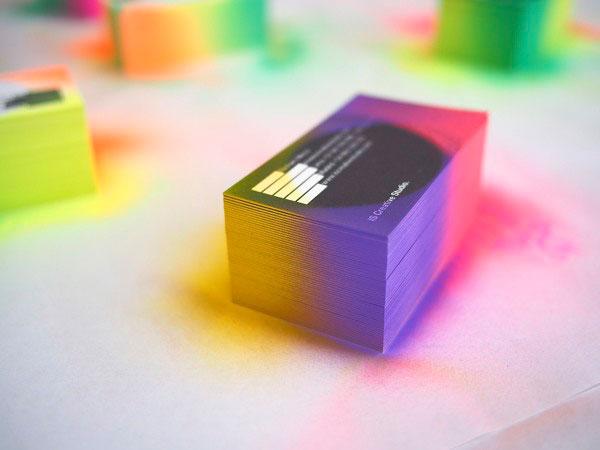 Fade Spray paint edge business cards
