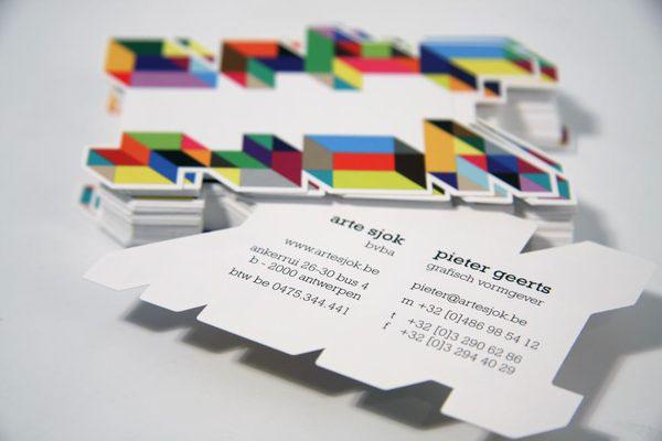 cool die cut business card