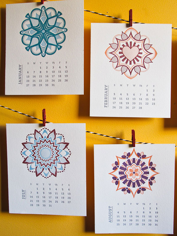 Beautiful Calendar Design : Beautiful letterpress calendar designs web graphic