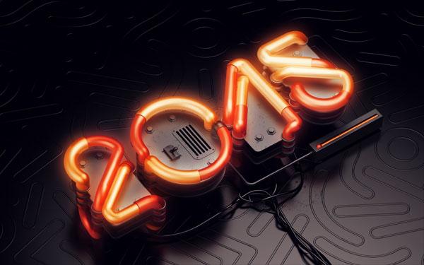 3D Neon Typography
