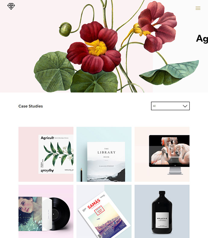 MiAgency is a staggeringly minimalistic theme that tells a story through imagery.