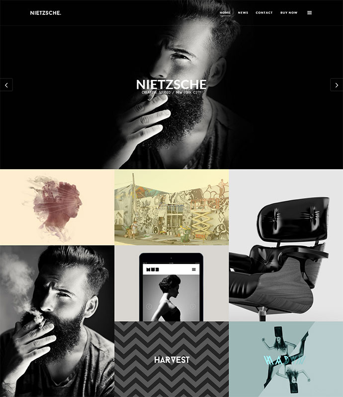 Nietzsche is a robust and flexible template with a unique design intended for agencies and creative individuals that want to put their work forward in a professional and unique manner.