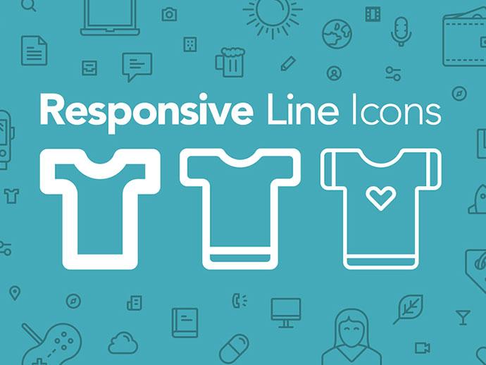 Freebie: 100 Responsive Line Icons