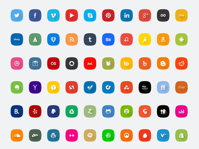 60 Social media icons set - PSD