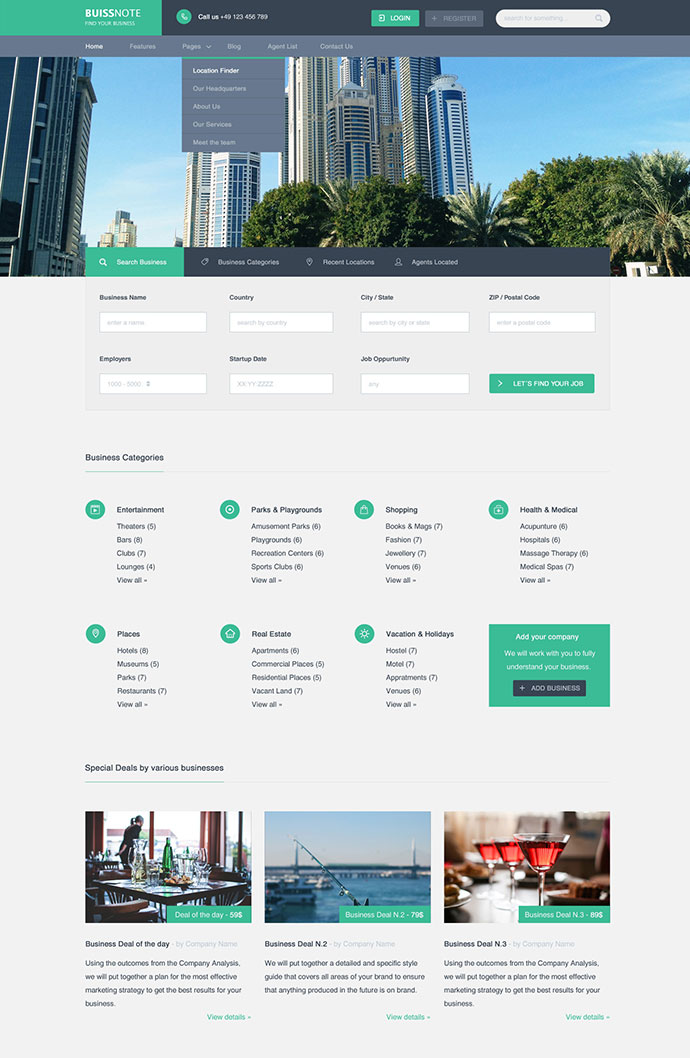 Buissnote - Free PSD Template
