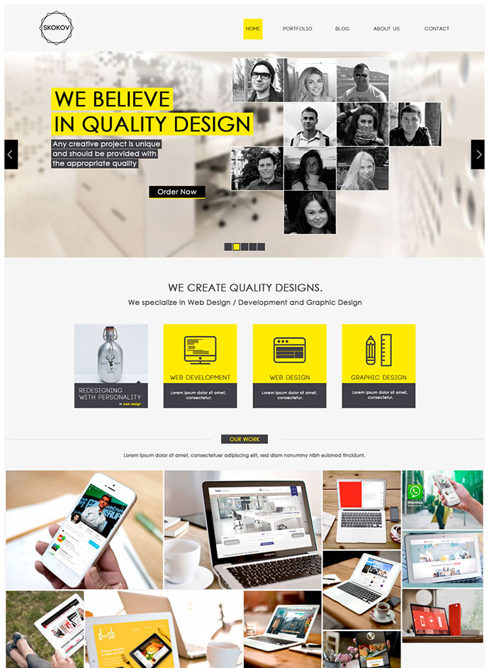 Free Corporate Web Design Template PSD
