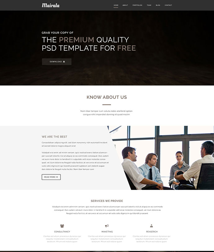 Free One Page Corporate Agency PSD Template