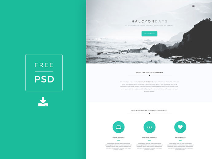Freebie PSD! Halcyon Days Website PSD