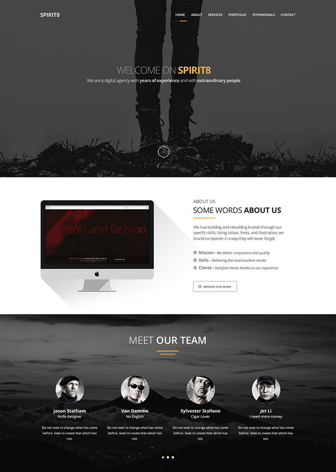 [FREEBIE] Spirit8 - Digital agency one page template