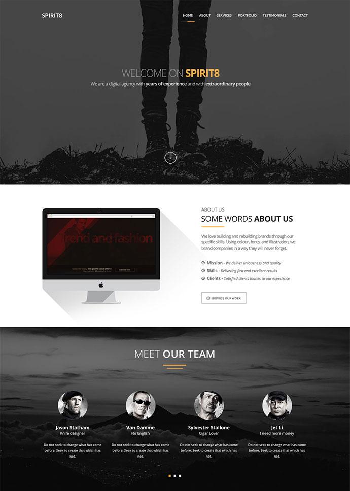[FREEBIE] Spirit8 - Digital agency one page template