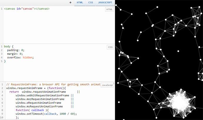 HTML5 Canvas Particles Web Matrix