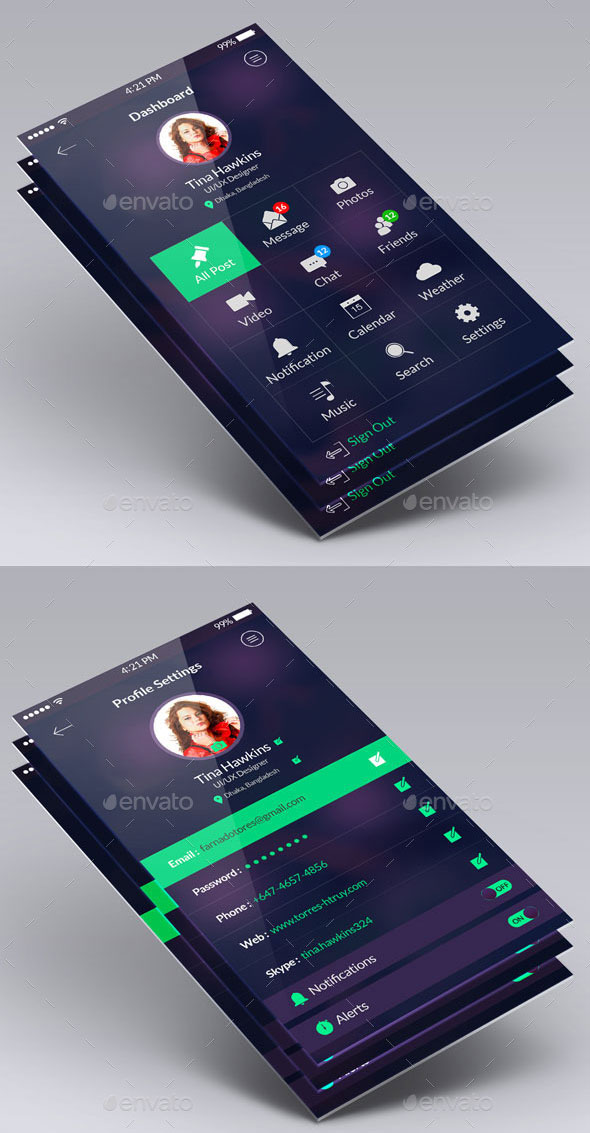 40 awesome mobile app ui psd templates web graphic design bashooka clean flat app ui design kit malvernweather Image collections