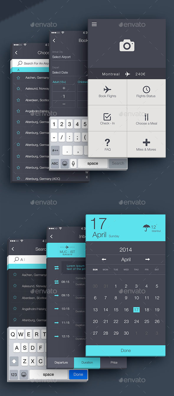 40 awesome mobile app ui psd templates web graphic design bashooka airlines mobile app ui malvernweather Choice Image