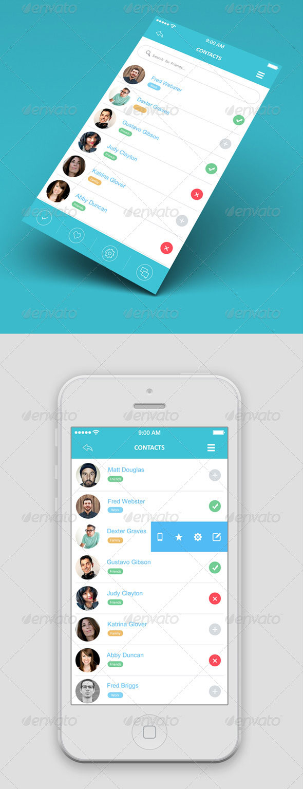 Flat Mobile App UI Design
