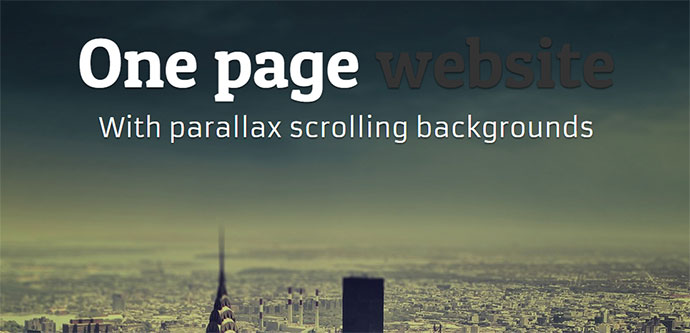 one page website with parallax scrolling