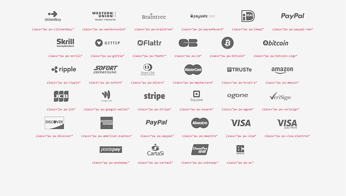 An SVG webfont full of icons of main payment systems
